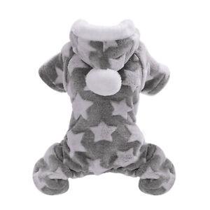 Pet Pajamas for Small Dogs Fleece Puppy Cat Pyjamas Hoodie Boy&Girl Clothes Gray