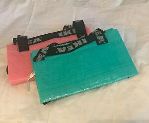IKEA Retired Pink Turquoise Slukis Frakta Laundry Tote Shopping Bag