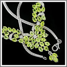 Naturel apple vert péridot & white cz sterling 925 argent collier 18