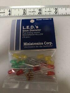 Miniatronics Corp 12-050-18 LED 5 mm Diameter plus limiting resistor Red/Green/Y