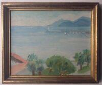 Beau Tableau Ancien Post-Impressionniste Marine Baie de CANNES Huile Signée