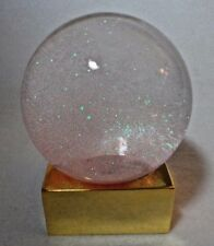 LED Lighted Crystal Ball Gold Metallic Stand & Sparkling Pink Crystals Snowglobe