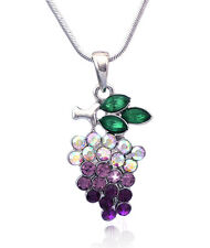Lavender Purple Grapes Fruit Pendant Necklace June Birthday Gift Jewelry n5