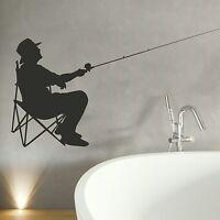 Fisherman Fishing Wall Sticker / Decal Art Transfer / Vinyl Graphic Stencil NE71