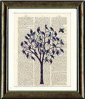 Old Antique Book page Art Print - Blue Bird Tree Upcycled Dictionary page Print