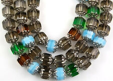25pcs  Mix Topaz Aqua Green Gray Cathedral Fire Polished Faceted Glass Beads 8mm