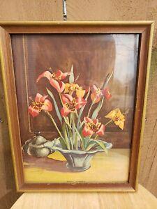 Vintage Floral Lithograph Print by Lockhardt Shell Flower Wood Frame