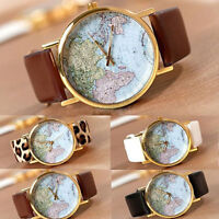 Fashion Womens Leather Alloy World Map Globe Analog Quartz Retro Wrist LO
