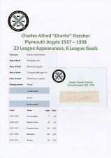 CHARLIE FLETCHER PLYMOUTH ARGYLE 1937-1938 VERY RARE ORIGINAL SIGNED CUTTING