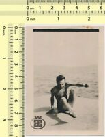 112 Shirtless Guy Motion Beach Abstract Man Male Portrait vintage photo original