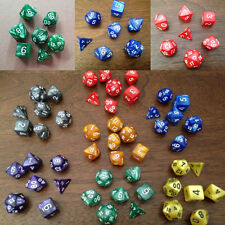 7pcs/Set Pearl Multi Sided Dice D4 D6 D8 D10 D12 D20 Dungeons D&D RPG Warhammer