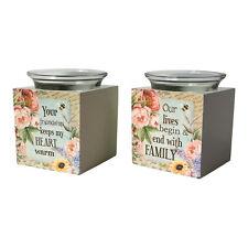 Set de 2 Floral Cœur & Famille Porte-Bougie Bougie Chauffe-plat Bloc Verre Porte