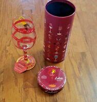 """LOLITA – LOVE MY WINE – """"RED TAPE"""" WINE GLASS – HAND PAINTED – BRAND NEW!"""