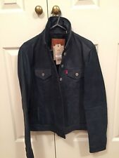 Women's - LEVIS - Navy Leather Jacket - Small - NEW