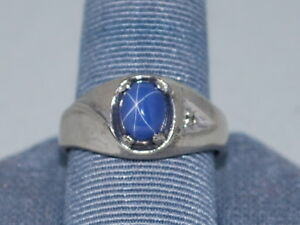 10k White Gold Ring With A Beautiful Blue Star Sapphire And Diamond