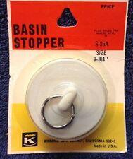 "Sink / Basin Drain Rubber Stopper Fits 1 3/4"" Dia openings -White New in pkg"