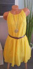 Apart Cocktailkleid Gr. 32 gelb silber mit Pailletten Kleid Abendkleid