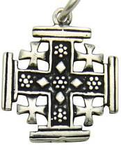 "MRT Sterling Silver Jerusalem Cross Pendant Christian Gift 13/16"" w Chain Boxed"