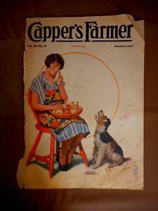 Vintage Cover Oct 1927 Magazine Capper's Edmund Davenport Woman Onions Dog