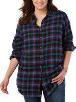 Women's PLUS SIZE 3X 4X 5X 26/28 30/32 34/36 38/40 Plaid Flannel Shirt Top PLUM