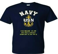 USS MIAMI  CL-89 IWO JIMA 1945 WW2  VINYL & SILKSCREEN NAVY ANCHOR SHIRT.