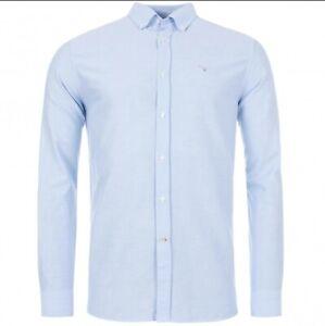 Men's Genuine Barbour Linen Mix Blue Regular Shirt. Size Small. NEW RRP £64.95