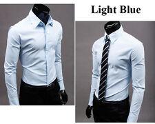 Mens Slim Fit Business Shirt Long Sleeve Dress Shirts Casual Cotton T-Shirt Tops