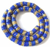 Ghana Matched Op Blue Banded cylinder Recycled African glass trade beads