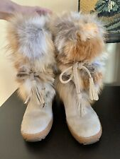 pajar womens boots fur Real Fox Wool Lined Thermal Rubber Sole Size 9(orig$580)