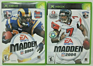 XBox EA Sports Madden 2003 & 2004 Pro Football Games w/Cases & Instruction Books