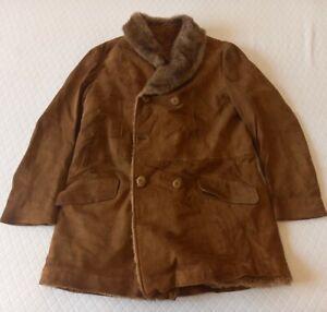 SHEARLING MONTONE VINTAGE Cappotto di PELLE Giubbotto Giacca Jacket Tg 52 Uomo