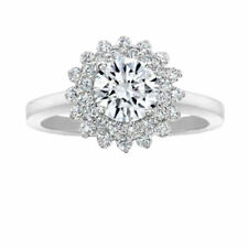 Halo Cut 14K White Gold Size 6 Moissanite Diamond Engagement Ring 1.70 Ct Round