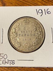 1916 CANADA 50 CENTS.CHOICE VF..