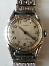 WWII PERIOD VTG BENRUS Steel MILITARY STYLE WRISTWATCH 60 SECOND OUTER DIAL