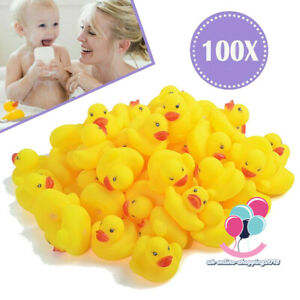 100 WHOLESALE Yellow Rubber DUCKS Squeaky Bath Toys Water Play Toddler DUCK UK,