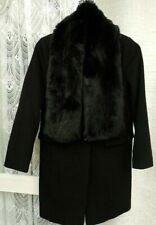 ( Ref 1146 ) Laura Ashley - Size 10 - Black Wool / Cashmere Winter Long Coat
