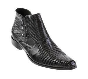 Men's Los Altos Genuine Full Teju Lizard Dress Ankle Boots With Side Zipper