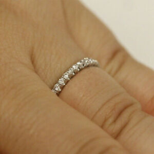 1.00 Ct Round Natural Diamond Engagement Ring Solid 18K White Rings Size M P Q R
