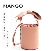 MANGO Drum Cylinder Bucket Bag HANDLE BOW Tote LTD ED Shoulder NUDE HandBag NWT