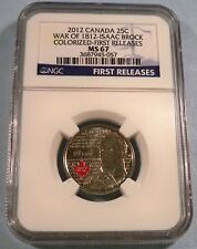 2012 CANADA 25c COLORIZED NGC MS67 QUARTER WAR OF 1812 ISAAC BROCK