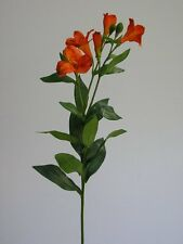 Blütenstiel grün/orange 80cm Blütenzeig Kunstblumen Seidenblumen Dekoration