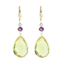 Pendientes de joyería con gemas amarillos de oro amarillo amatista