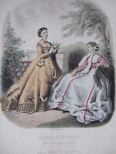GRAVURE MODE 19e -  MODE ILLUSTREE - ANNEE 1866 -   GRAND FORMAT