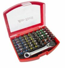 49pc Colour Coded Screwdriver Bits Set Case Slotted Pozi Hex Phillips Torx Box