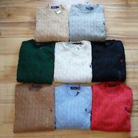 Men's Polo Ralph Lauren CABLE KNIT Sweater Crew Neck Sweatshirt S M L XL XXL