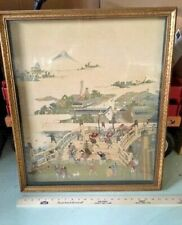 Asian Antiques,Paintings,Village Life, Painting on cloth,Framed,1850-1899,Japan,
