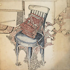 Vintage modernist still life with chair and bag ink painting