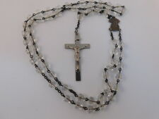CRYSTAL STERLING SILVER ROSARY BEADS CRUCIFIX SIGNED AFCO NECKLACE CROSS CLEAR