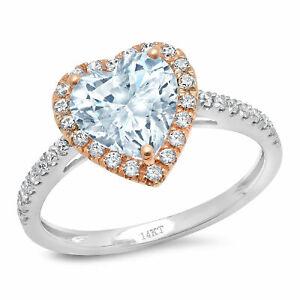 2.36ct Heart Natural Sky Blue Topaz 18k Multi Gold Halo Wedding Bridal Ring