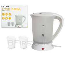 Small Dual Voltage 0.5Ltr Electric Travelling Kettle Travel Camping Jug + 2 Cups
